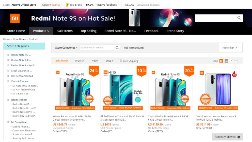 1. Xiaomi-best & top brands on aliexpress