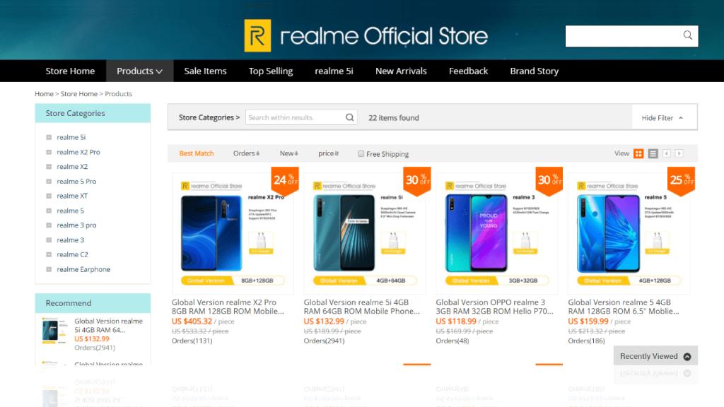 2. Realme-best & top brands on aliexpress