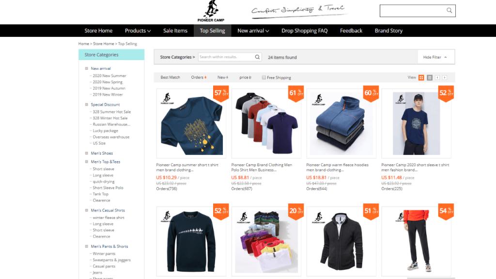 31. Pioneer Camp-best & top men fashion brands on aliexpress